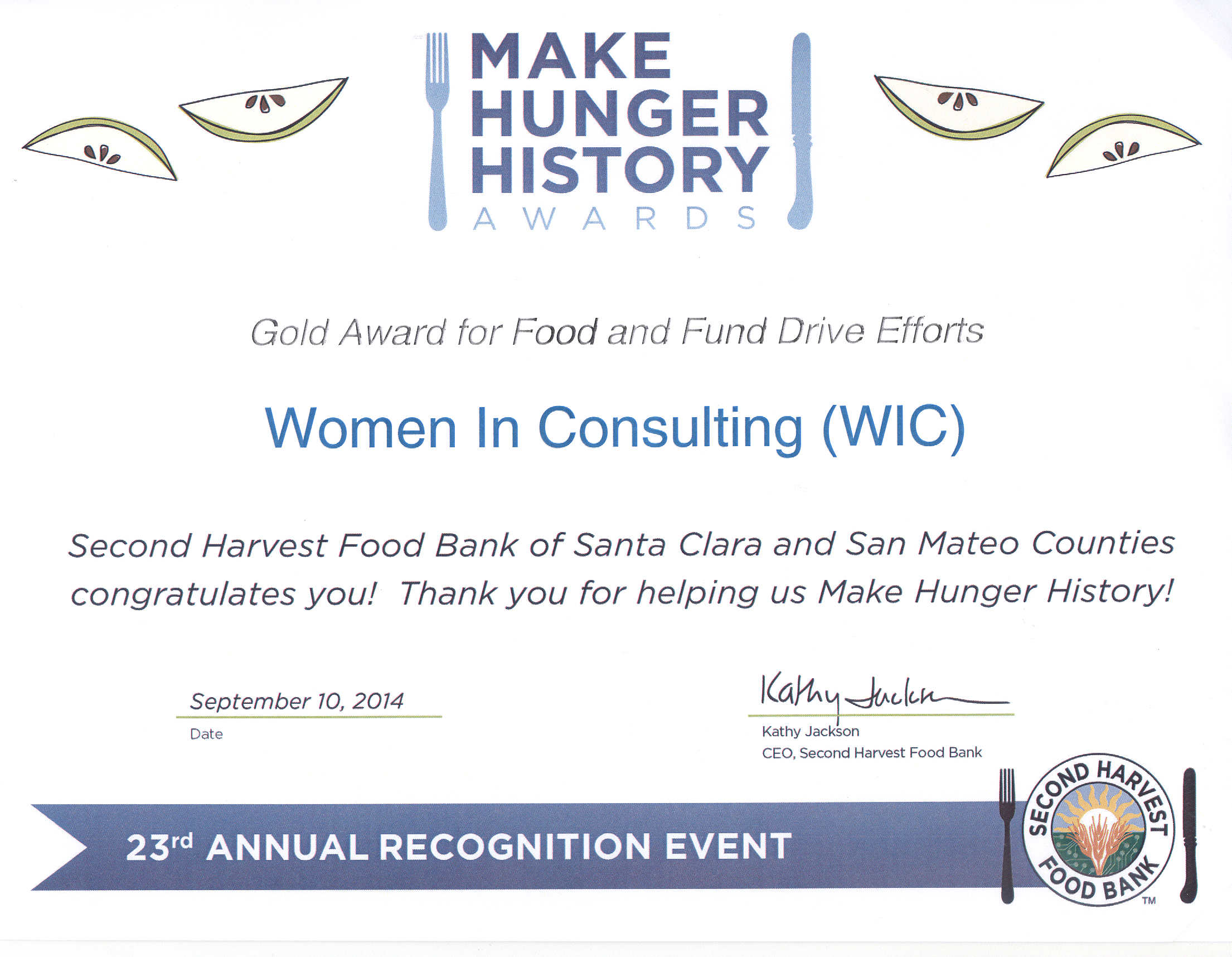 Second Harvest Food Bank 2014 Award